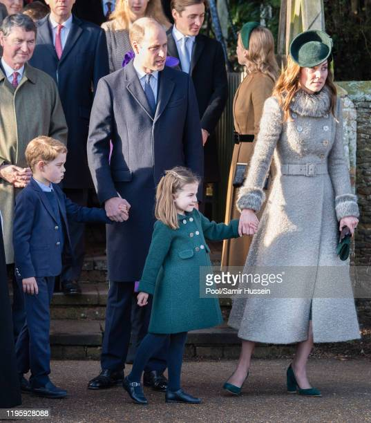 Prince William Duke of Cambridge Prince George of Cambridge Catherine Duchess of Cambridge and Princess Charlotte of Cambridge attend the Christmas...