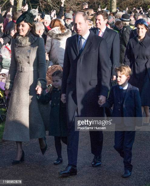 Prince William, Duke of Cambridge, Prince George of Cambridge, Catherine, Duchess of Cambridge and Princess Charlotte of Cambridge attend the...