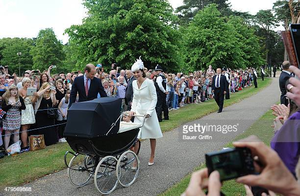 Prince William Duke of Cambridge Prince George of Cambridge Catherine Duchess of Cambridge and Princess Charlotte of Cambridge arrive at the Church...