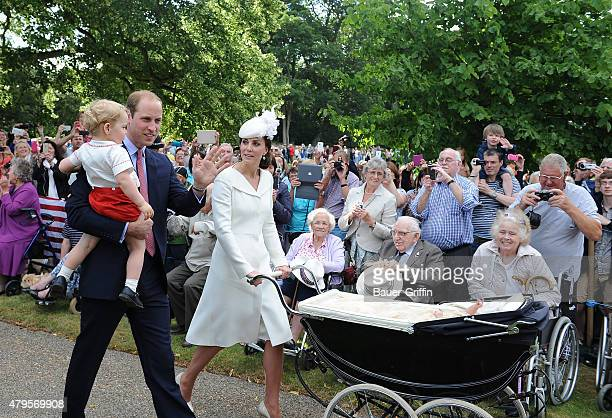 Prince William, Duke of Cambridge, Prince George of Cambridge, Catherine Duchess of Cambridge and Princess Charlotte of Cambridge arrive at the...