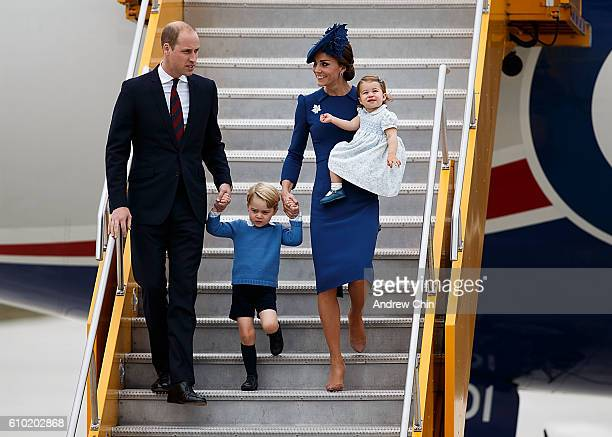 Prince William Duke of Cambridge Prince George of Cambridge Catherine Duchess of Cambridge and Princess Charlotte of Cambridge arrive at 443 Maritime...
