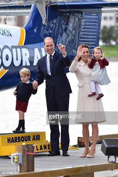 Prince William Duke of Cambridge Prince George of Cambridge Catherine Duchess of Cambridge and Princess Charlotte leave from Victoria Harbour to...