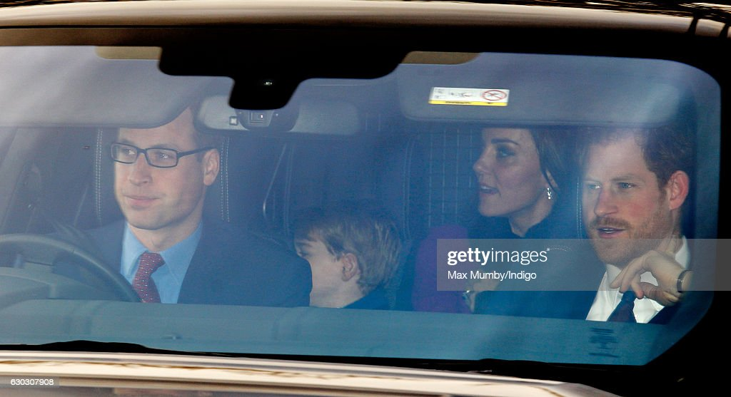 Prince William, Duke of Cambridge, Prince George of Cambridge, Catherine, Duchess of Cambridge and Prince Harry attend a Christmas lunch for members of the Royal Family hosted by Queen Elizabeth II at Buckingham Palace on December 20, 2016 in London, England.