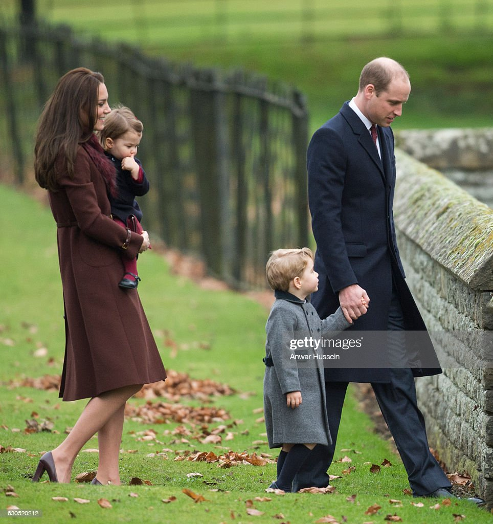 Prince William, Duke of Cambridge, Prince George of Cambridge, Catherine, Duchess of Cambridge and Princess Charlotte of Cambridge attend a Christmas Day service at St. Marks Church on December 25, 2016 in Englefield, England.