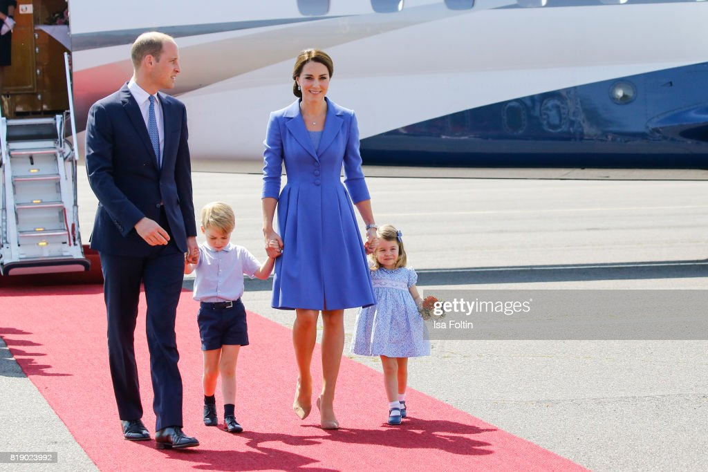 Prince William Duke of Cambridge, Prince George of Cambridge, Catherine Duchess of Cambridge and Princess Charlotte of Cambridge during an official visit to Poland and Germany on July 19, 2017 in Berlin, Germany.