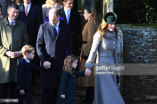 Prince William Duke of Cambridge Prince George Princess Charlotte and Catherine Duchess of Cambridge attend the Christmas Day Church service at...