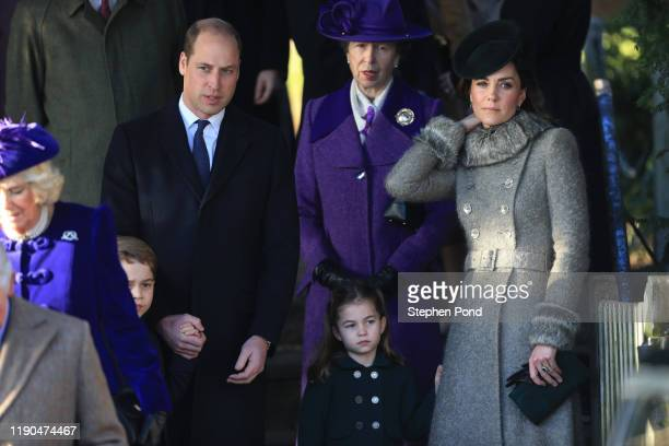 Prince William, Duke of Cambridge, Prince George, Princess Charlotte and Catherine, Duchess of Cambridge attend the Christmas Day Church service at...