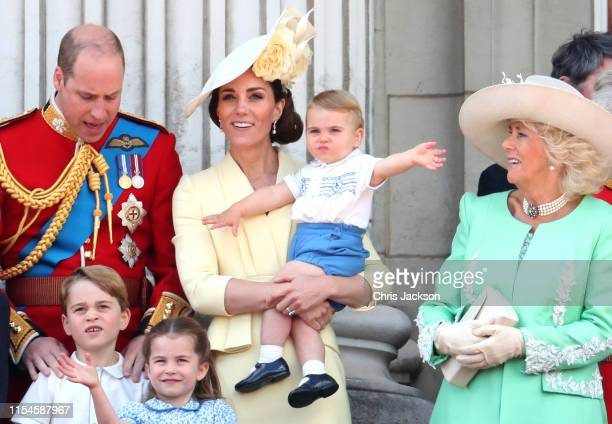 Prince William, Duke of Cambridge, Prince George, Princess Charlotte, Catherine, Duchess of Cambridge, Prince Louis and Camilla, Duchess of Cornwall...