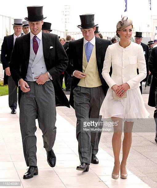 Prince William Duke of Cambridge Prince Harry and Catherine Duchess of Cambridge attend Derby Day at the Investec Derby Festival at Epsom racecourse...