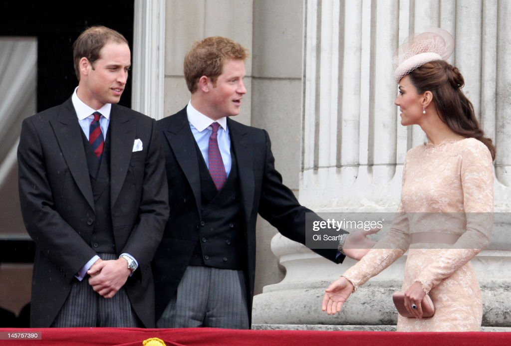 Prince William, Duke of Cambridge, Prince Harry and Catherine, Duchess of Cambridge on the balcony of Buckingham Palace after the service of thanksgiving at St.Paul's Cathedral on June 5, 2012 in London, England. For only the second time in its history the UK celebrates the Diamond Jubilee of a monarch. Her Majesty Queen Elizabeth II celebrates the 60th anniversary of her ascension to the throne. Thousands of wellwishers from around the world have flocked to London to witness the spectacle of the weekend's celebrations.