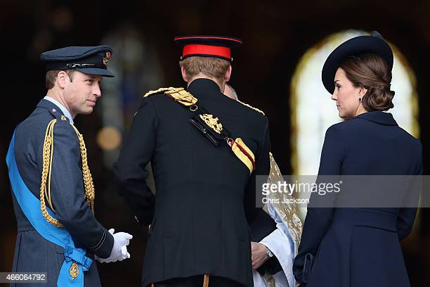 Prince William Duke of Cambridge Prince Harry and Catherine Duchess of Cambridge arrive for a Service of Commemoration for troops who were stationed...
