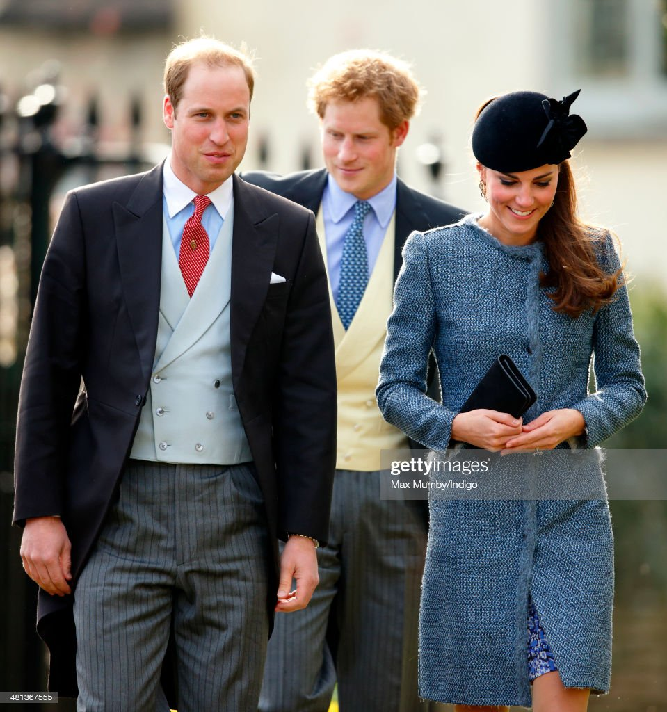 Prince William, Duke of Cambridge, Prince Harry and Catherine, Duchess of Cambridge attend the wedding of Lucy Meade and Charlie Budgett at the church of St Mary the Virgin, Marshfield on March 29, 2014 in Chippenham, England.
