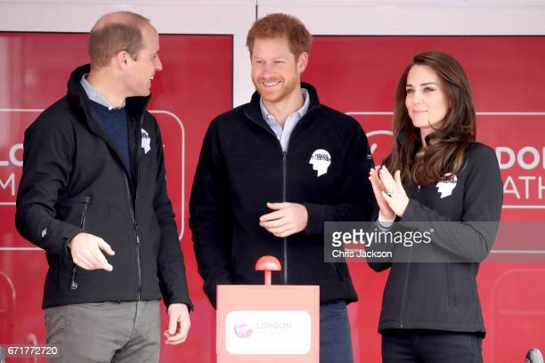 Prince William Duke of Cambridge Prince Harry and Catherine Duchess of Cambridge ahead of signaling the start of the 2017 Virgin Money London...
