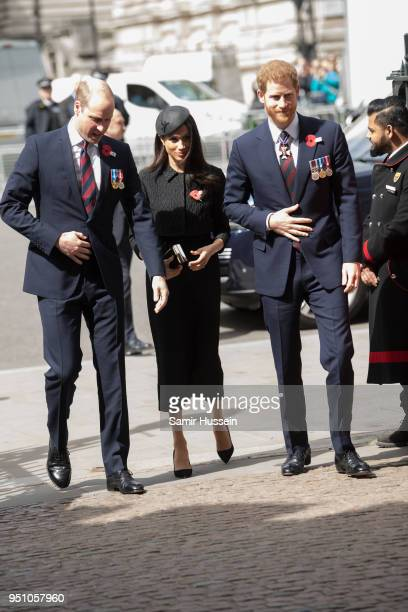 Prince William Duke of Cambridge Prince Harry and Meghan Markle attend the Anzac Day service at Westminster Abbey on April 25 2018 in London England
