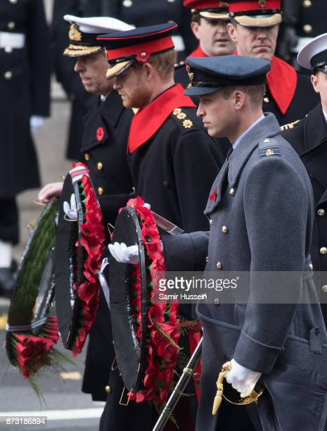 Prince William Duke of Cambridge Prince Harry and Prince Andrew Duke of York during the annual Remembrance Sunday Service at The Cenotaph on November...