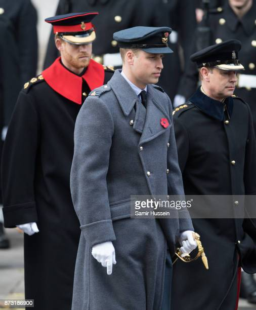 Prince William Duke of Cambridge Prince Harry and Prince Edward Earl of Wessex during the annual Remembrance Sunday Service at The Cenotaph on...