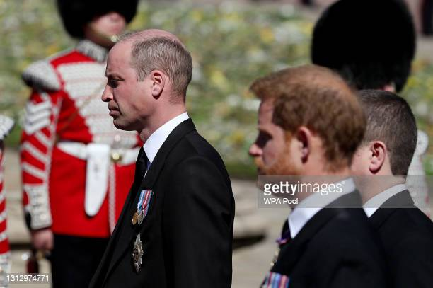 Prince William, Duke of Cambridge, Prince Harry, Duke of Sussex and Peter Phillips during the funeral of Prince Philip, Duke of Edinburgh at Windsor...
