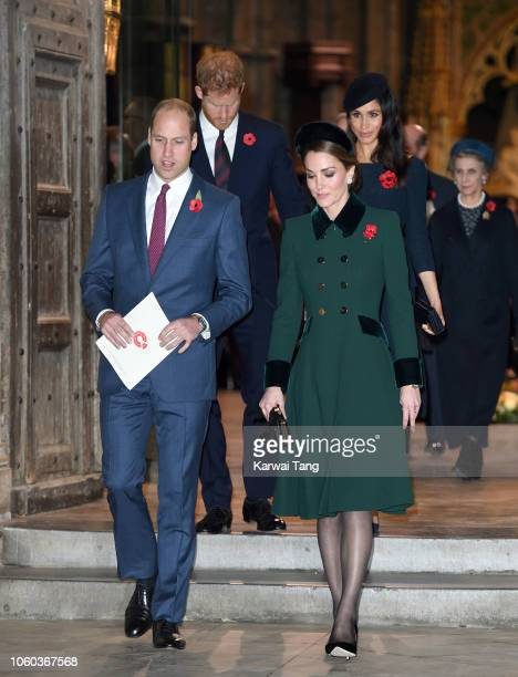 Prince William Duke of Cambridge Prince Harry Duke of Sussex Catherine Duchess of Cambridge and Meghan Duchess of Sussex attend the Centenary Of The...