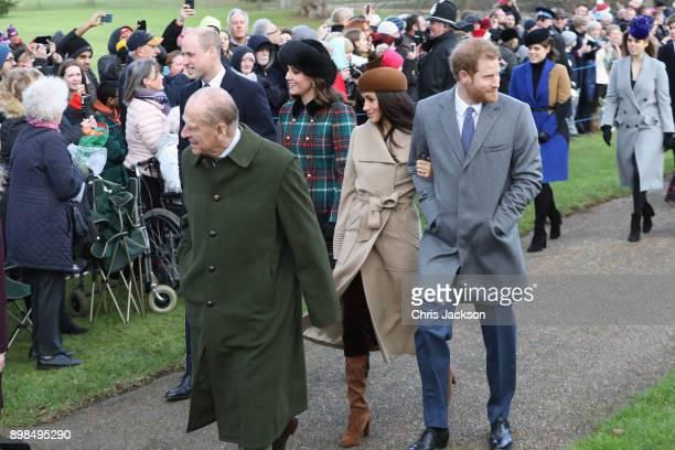 Prince William Duke of Cambridge Prince Philip Duke of Edinburgh Catherine Duchess of Cambridge Meghan Markle and Prince Harry attend Christmas Day...