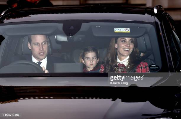 Prince William, Duke of Cambridge, Princess Charlotte of Cambridge and Catherine, Duchess of Cambridge attend Christmas Lunch at Buckingham Palace on...