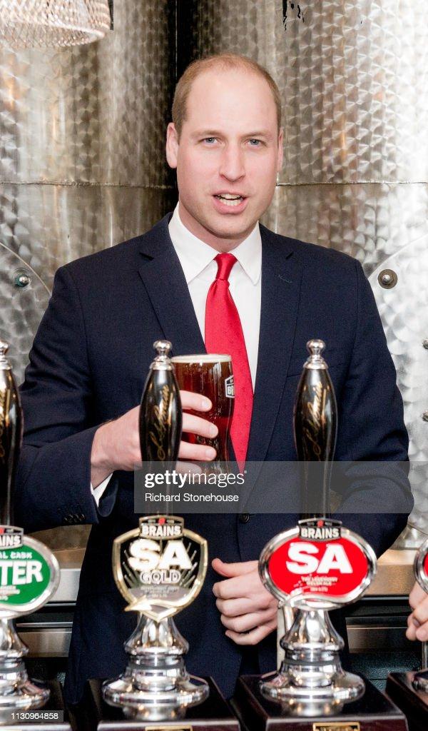 The Duke Of Cambridge Visits Brains Dragon Brewery : News Photo