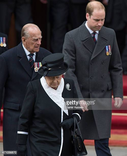 Prince William, Duke of Cambridge , Queen Elizabeth II and Prince Philip, Duke of Edinburgh attend the wreath-laying ceremony at the Cenotaph to...