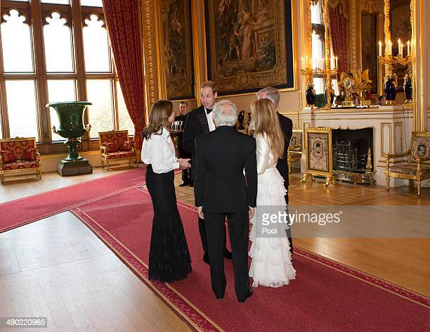 Prince William Duke of Cambridge Ralph Lauren Royal Marsden CEO Cally Palmer and Chairman Ian Molson attend a dinner to celebrate the work of The...