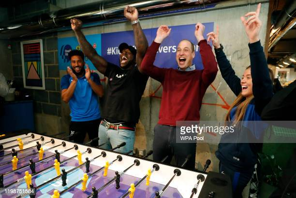 Prince William Duke of Cambridge reacts as his team consisting of Crystal Palace winger Andros Townsend Wycombe Wanderers striker Adebayo Akinfenwa...