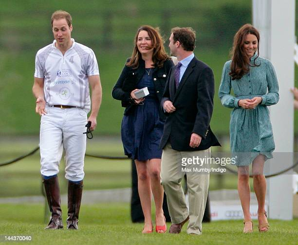 Prince William Duke of Cambridge Rebecca Deacon Andrew Tucker and Catherine Duchess of Cambridge attend the Audi Polo Challenge charity polo match in...