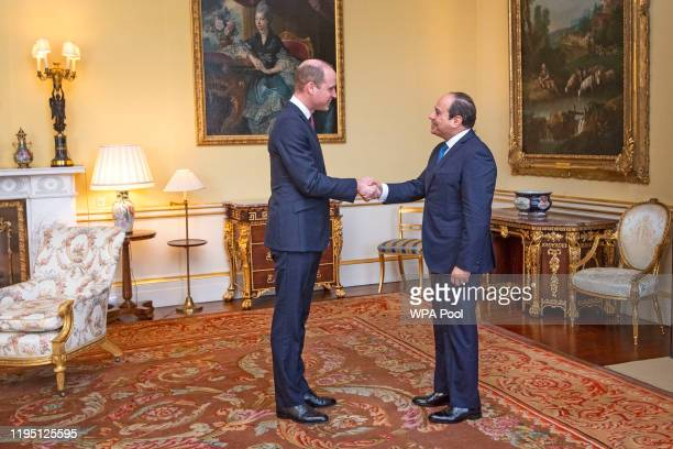 Prince William Duke of Cambridge receives the President of Egypt Abdel Fattah elSisi during an audience at Buckingham Palace on January 21 2020 in...