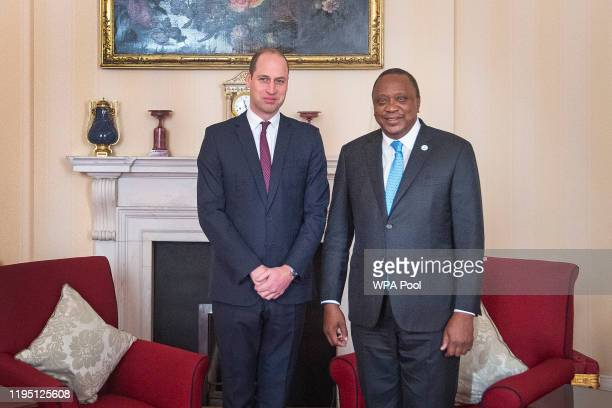 Prince William Duke of Cambridge receives the President of Kenya Uhuru Kenyatta during an audience at St James Palace on January 21 2020 in London...