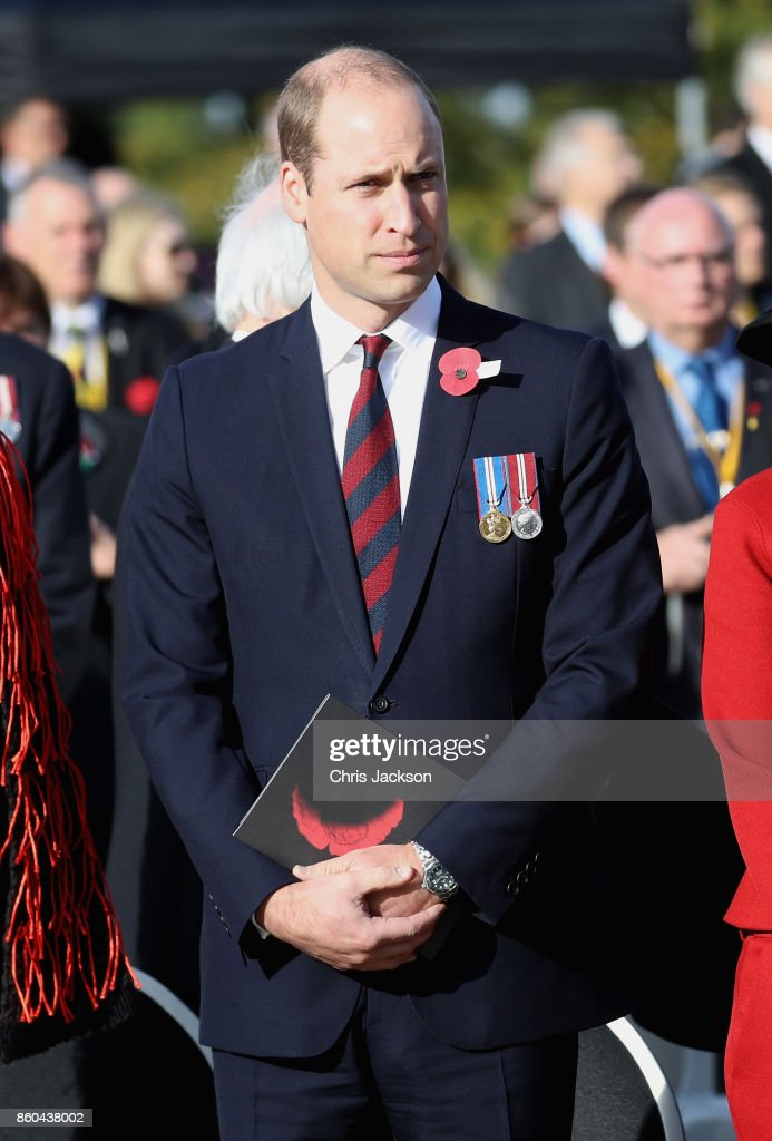 Prince William, Duke of Cambridge, representing Her Majesty The Queen, attends the New Zealand Commemoration for the Battle of Passchendaele at Tyne Cot Cemetery on October 12, 2017 in Flanders, Belguim. The Commemoration marks the centenary of the Third Battle of Ypres during World War One, where the New Zealand Division suffered heavy losses.
