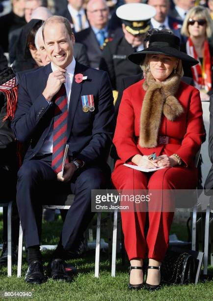 Prince William Duke of Cambridge representing Her Majesty The Queen and Princess Astrid of Belgium attend the New Zealand Commemoration for the...