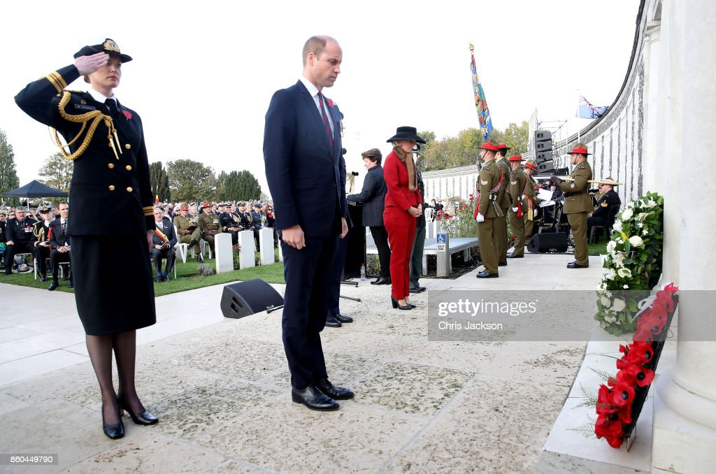 Prince William, Duke of Cambridge, representing Her Majesty The Queen, lays a wreath at the New Zealand Memorial Wall to the Missing during the Commemoration for the Battle of Passchendaele at Tyne Cot Cemetery on October 12, 2017 in Flanders, Belguim. The Commemoration marks the centenary of the Third Battle of Ypres during World War One, where the New Zealand Division suffered heavy losses.