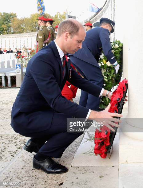 Prince William Duke of Cambridge representing Her Majesty The Queen lays a wreath at the New Zealand Memorial Wall to the Missing during the...
