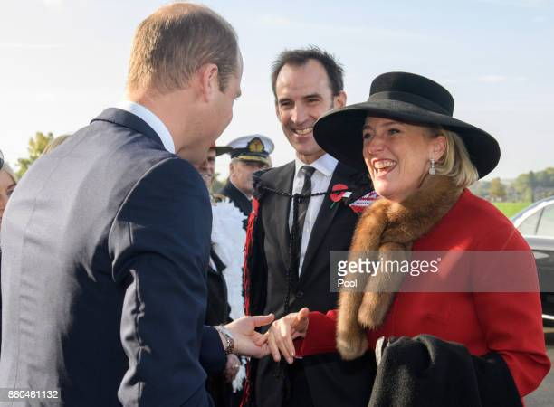Prince William Duke of Cambridge representing Her Majesty The Queen and Princess Astrid of Belgium attend the New Zealand Memorial Wall to the...