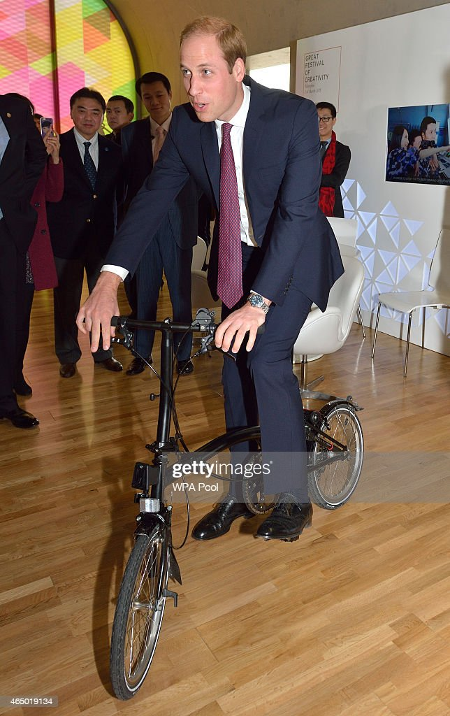 Prince William, Duke Of Cambridge rides a Brompton Bicycle during his visit to the GREAT British Festival of Creativity on March 3, 2015 in Shanghai, China. Prince William, Duke of Cambridge is on a four day visit to China. He is the most senior royal to visit China since the Queen and Duke of Edinburgh in 1986. His visit follows on from a successful four day visit to Japan