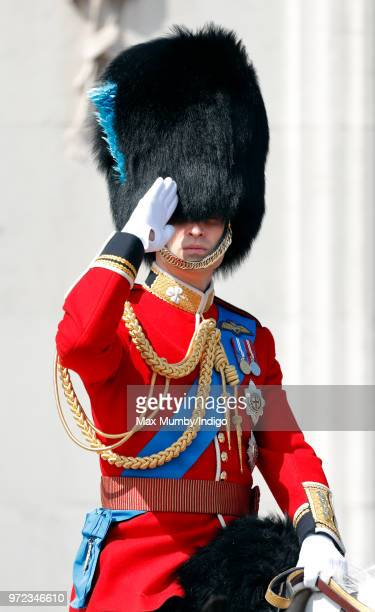 Prince William Duke of Cambridge rides on horseback down The Mall during Trooping The Colour 2018 on June 9 2018 in London England The annual...