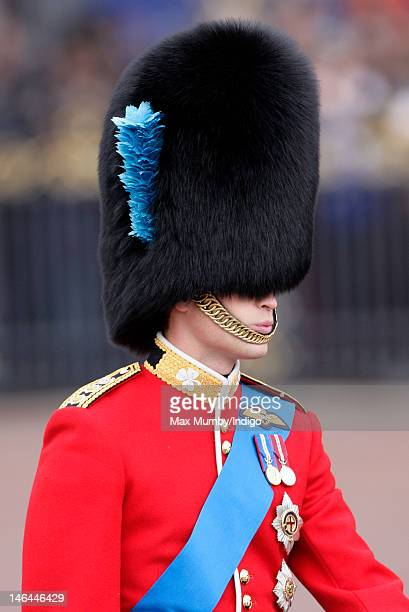 Prince William Duke of Cambridge rides on horseback during the annual Trooping the Colour Ceremony at Buckingham Palace on June 16 2012 in London...