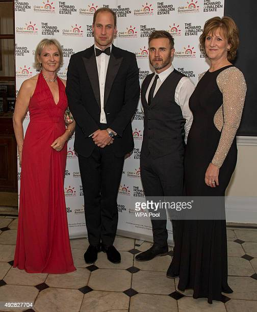 Prince William Duke of Cambridge Royal Patron of Child Bereavement UK poses with Julia Samuel Founder and Parton Ann Chalmers Chief Executive of...