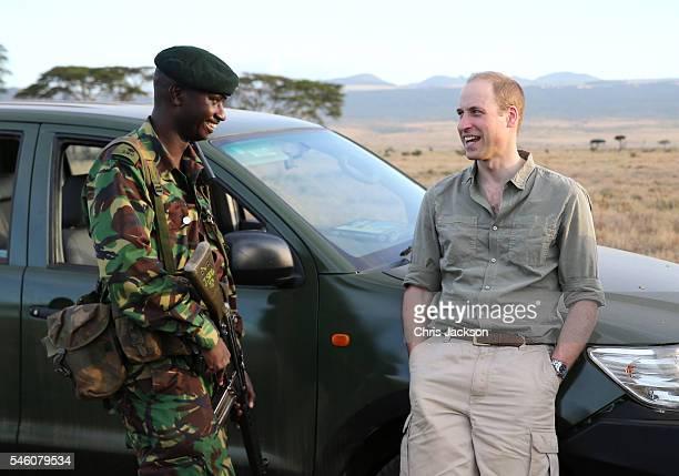 Prince William, Duke of Cambridge, Royal Patron of Tusk and President of United For Wildlife, enjoys a joke with Edward Ndiritu, Head of Security at...