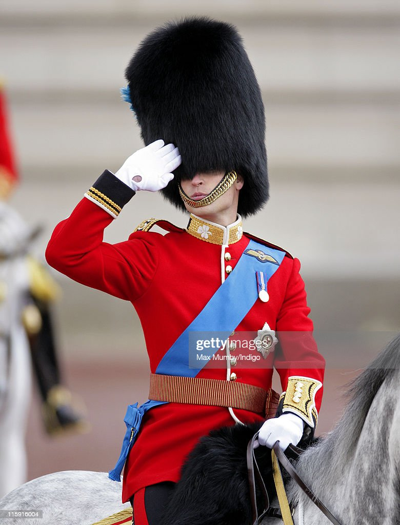 Prince William, Duke of Cambridge salutes as he rides his horse in the Trooping the Colour parade on June 11, 2011 in London, England. The ceremony of Trooping the Colour is believed to have first been performed during the reign of King Charles II. In 1748, it was decided that the parade would be used to mark the official birthday of the Sovereign. More than 600 guardsmen and cavalry make up the parade, a celebration of the Sovereign's official birthday, although the Queen's actual birthday is on 21 April.