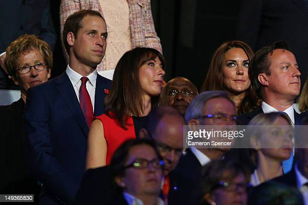Prince William Duke of Cambridge Samantha Cameron Catherine Duchess of Cambridge and British Prime Minister David Cameron watch on during the Opening...