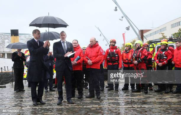 Prince William Duke of Cambridge sees the work of Lagan Search and Rescue a rescue and lifeboat service that covers the Belfast Harbour Estate River...