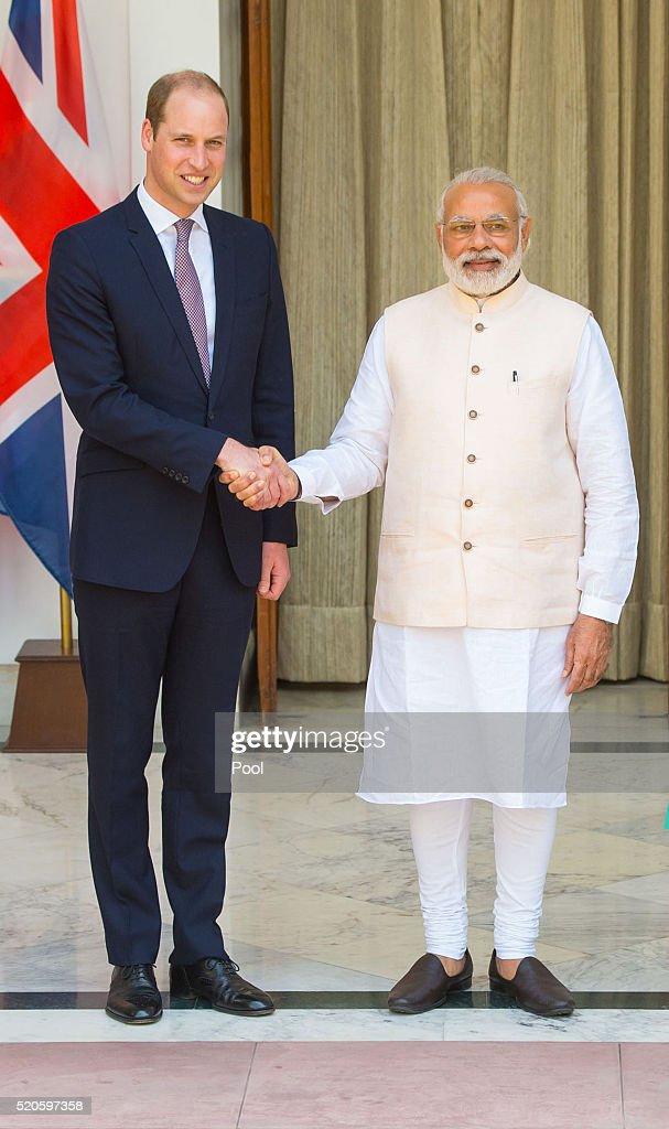 Prince William, Duke of Cambridge shakes hands with Prime Minister of India Narenda Modi in New Delhi's Hyderabad House on April 12, 2016 in New Dehli, India. The Duke and Duchess of Cambridge are on a week-long tour of India and Bhutan taking in Mumbai, Delhi, Assam, Bhutan and Agra.