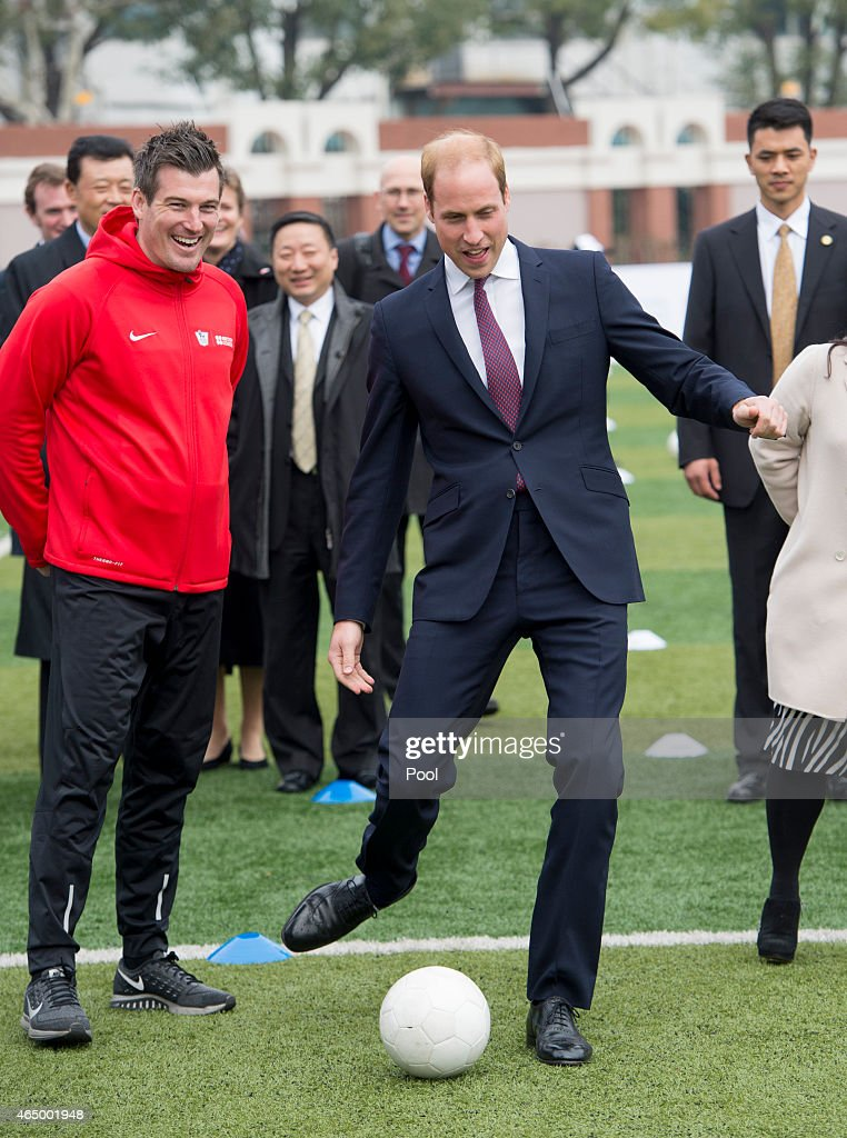 Prince William, Duke of Cambridge smiles as he attends a Premier Skills Football Event on March 3, 2015 in Shanghai, China. Prince William, Duke of Cambridge is on a four day visit to China. He is the most senior royal to visit China since the Queen and Duke of Edinburgh in 1986. His visit follows on from a successful four day visit to Japan