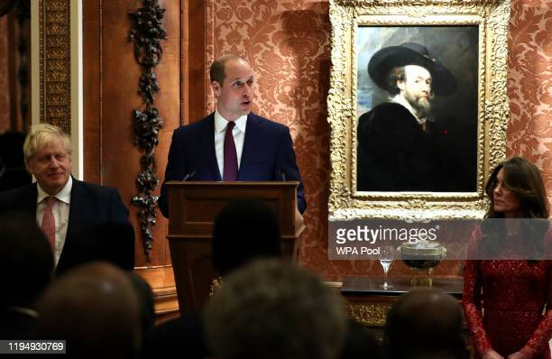 Prince William, Duke of Cambridge speaks as UK Prime Minister Boris Johnson and Catherine, Duchess of Cambridge look on during at a reception to mark...