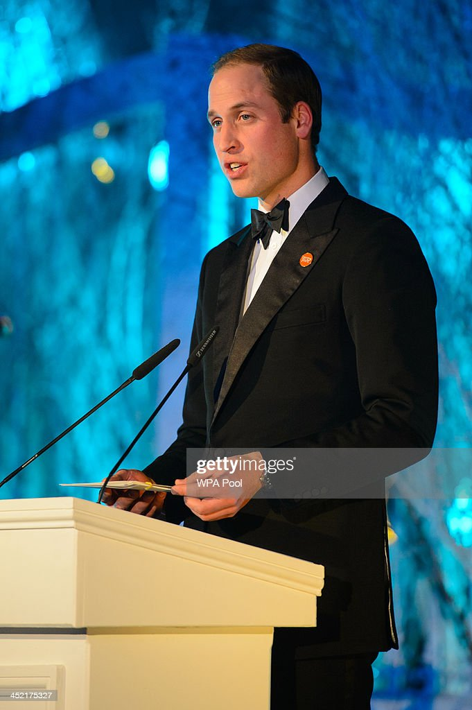 Prince William, Duke of Cambridge speaks at the Centrepoint Gala Dinner at Kensington Palace on November 26, 2013 in London, England.