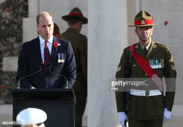 Prince William Duke of Cambridge speaks at the New Zealand national commemoration for the Battle of Passchendaele at Tyne Cot Cemetery on October 12...