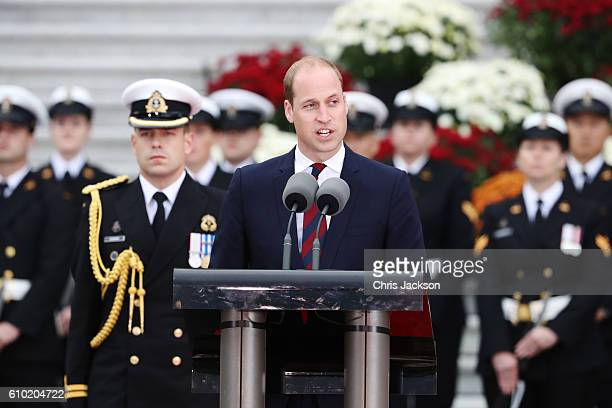 Prince William, Duke of Cambridge speaks at the Official Welcome Ceremony for the Royal Tour at the British Columbia Legislature on September 24,...